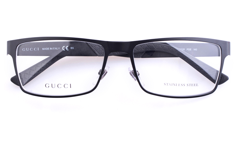 gucci gg2228 stainless steel mens square full rim optical glassesblack