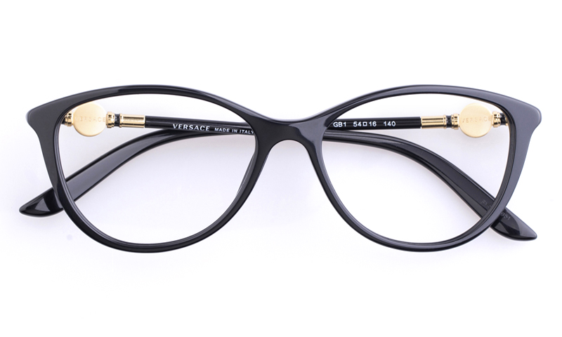 versace ve3175 acetate womens cat eye full rim optical glassesblack