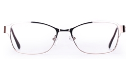 Poesia 6648 Stainless Steel Womens Full Rim Optical Glasses for Fashion,Classic,Nose Pads Bifocals