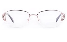 Vista First 8822 Stainless steel/ZYL Womens Semi-rimless Optical Glasses for Fashion,Classic,Nose Pads Bifocals