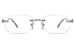 Vista First 8957 Stainless steel/ZYL Mens Rimless Optical Glasses for Fashion,Classic,Nose Pads Bifocals
