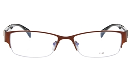 E1147 Stainless Steel/ZYL Mens Semi-rimless Square Optical Glasses for Fashion,Classic,Party,Nose Pads Bifocals