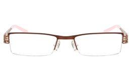 SJ036 Stainless Steel Mens Womens Semi-rimless Square Optical Glasses for Fashion,Classic,Nose Pads