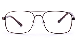 Poesia 6644 Stainless Steel Mens Square Full Rim Optical Glasses for Fashion,Classic Bifocals