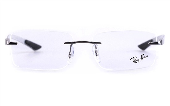 ray ban glasses rimless  ray ban rb8404 stainless steel mens square rimless optical glasses (gun(2502))