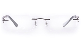 Vista First LT638-1 TITANIUM Mens Womens Square Rimless Optical Glasses for Fashion,Classic,Nose Pads Bifocals