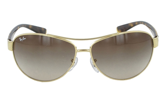 gold rimmed ray bans pzxk  Ray-Ban 0RB3386 COLOR-3 Metal Mens & Womens Full Rim SunglassesGold 001/13~Brown