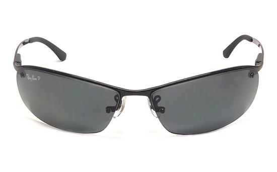 ray ban semi rimless polarized sunglasses  ray ban 0rb3183 metal mens & womens semi rimless sunglasses (black(002/81)~gray)